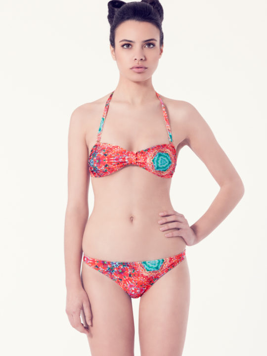 PERSICARIA Bikini básico – Vista frontal – Estampado rojo – nadadora.com.es – swimwear