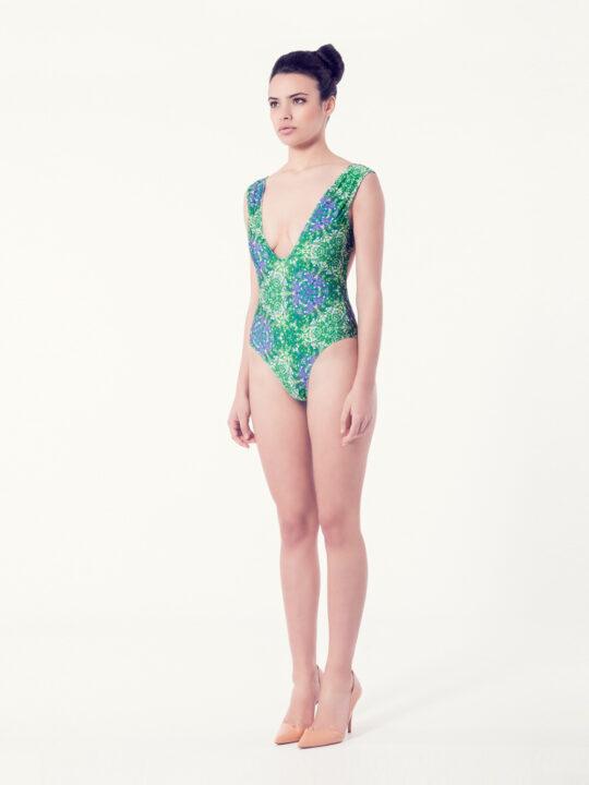 CAMPANULA Bañador básico – Vista normal – Estampado verde – nadadora.com.es – swimwear