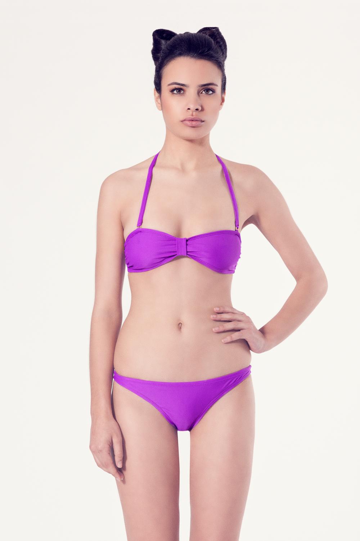 PERSICARIA Bikini básico – Vista frontal – Liso malva – nadadora.com.es – swimwear
