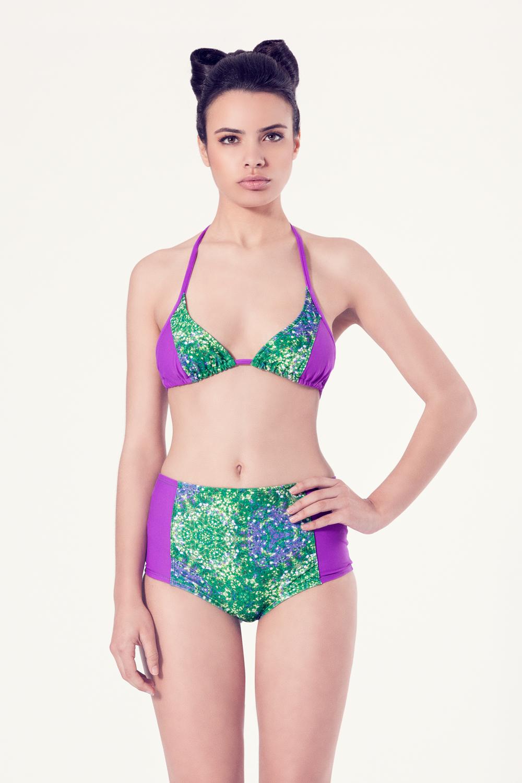 ALLIUM Bikini tendencia – Vista frontal– Estampado verde – nadadora.com.es – swimwear