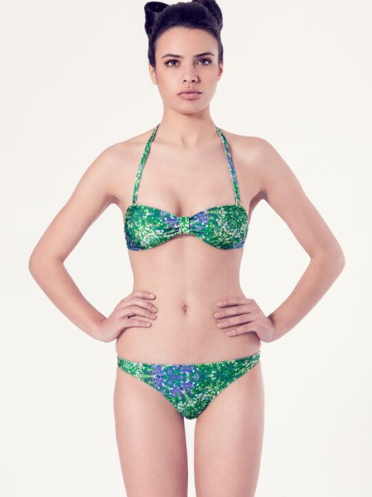PERSICARIA Bikini básico - Vista frontal - Estampado verde - nadadora.com.es - swimwear