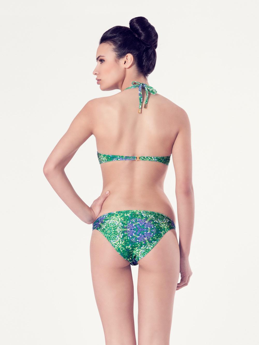 PERSICARIA Bikini básico - Vista trasera - Estampado verde - nadadora.com.es - swimwear