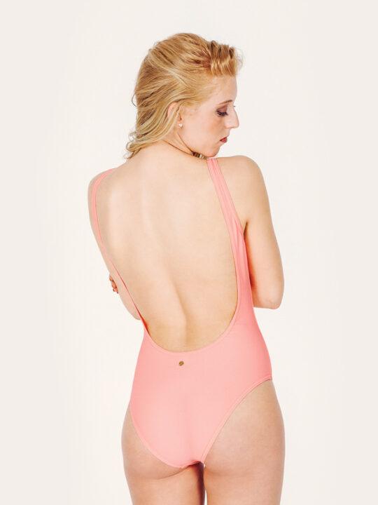 MINERVA Bañador básico –Espalda – Liso Coral – nadadora.com.es – swimwear